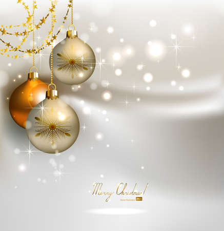 elegant glimmered Christmas background with shine evening balls  Vector
