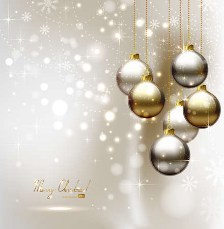 elegant glimmered Christmas background with evening balls  Vector