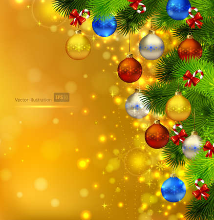 festive pine cones: bright Christmas background with fir tree, cones and evening balls