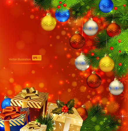 bright card: red Christmas background with various of gifts and green fir tree