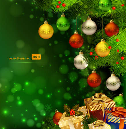 gold corner: green Christmas background with various of gifts and green fir tree