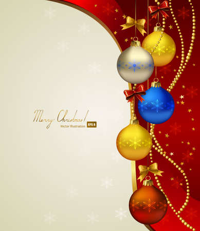 red Christmas background with colored evening balls  Vector