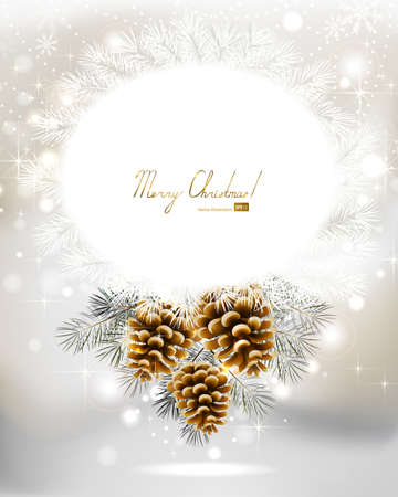 light Christmas background with three cones and fir tree  Vector