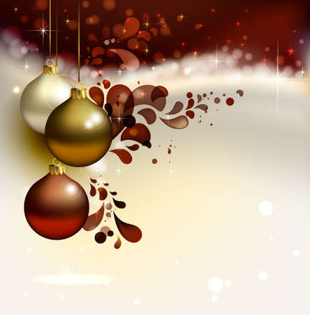 glimmered Christmas background with evening balls  Vector