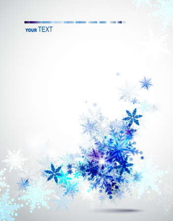 wish: Christmas background with abstract winter snowflakes  Illustration