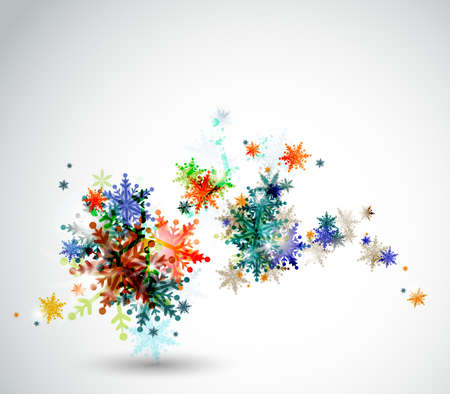 Christmas background with abstract winter snowflakes  Illustration