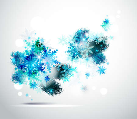 Christmas background with fir tree and winter snowflakes  Vector