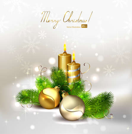 Christmas background with burning candles and Christmas bauble  Vector
