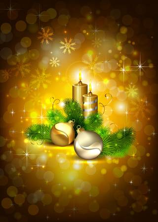 waxen: brown Christmas background with burning candles and Christmas bauble  Illustration