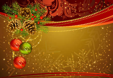 gold Christmas background with fir tree, cones and evening balls  Vector