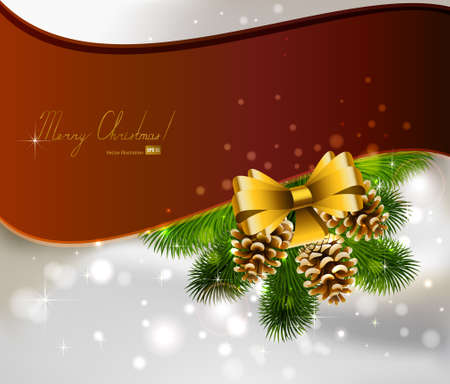 Christmas background with three cones and fir tree  Vector