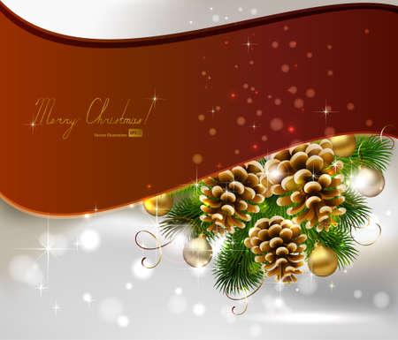 pomme de pin: Fond de Noël avec sapin, cônes et boules de soirée