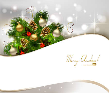 festive pine cones: Christmas background with fir tree, cones and evening balls