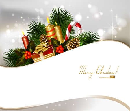 Christmas background with branch of fir tree with burning candles and Christmas bauble  Vector