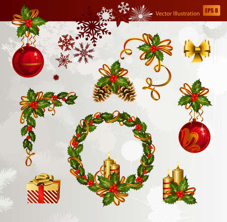 Christmas set of holly, burning candles and evening balls  Vector