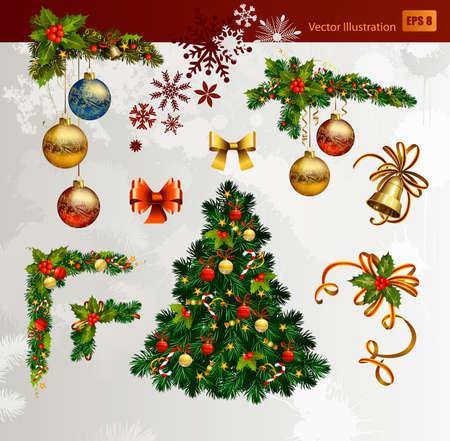 campanas navidad: Navidad de un conjunto de abeto y bolas de la tarde, YEARA nueva, esquinas y la campana festiva