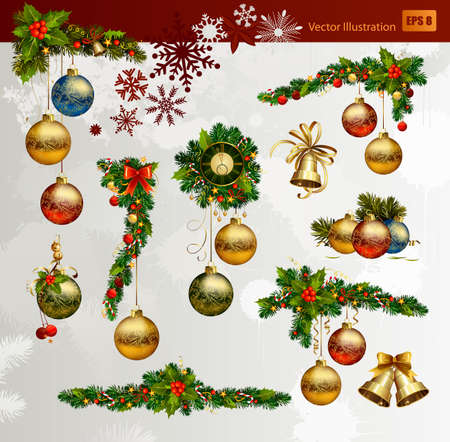 ornament: Christmas  set of fir tree and evening balls, new year&acirc, clock and festive bells