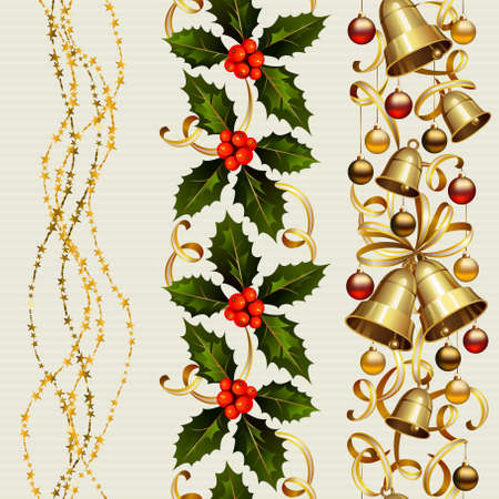 garland border: set of three Christmas seamless ornament with garland , holly and festive bells  Illustration