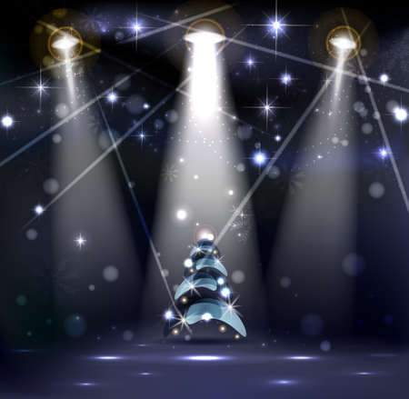 christmas poster: dark Christmas Stage Spotlight with snowflakes and good-looking Christmas tree  Illustration