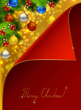 greetingcard: Red greeting-card covers Christmas background with fir tree, candies and evening balls