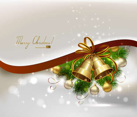 Christmas background with fir tree, bells and evening balls  Vector