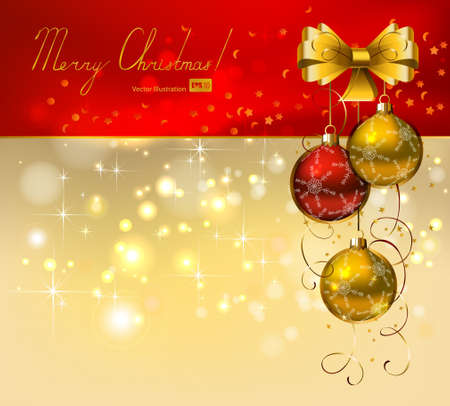 Christmas background with red and gold evening balls  Vector
