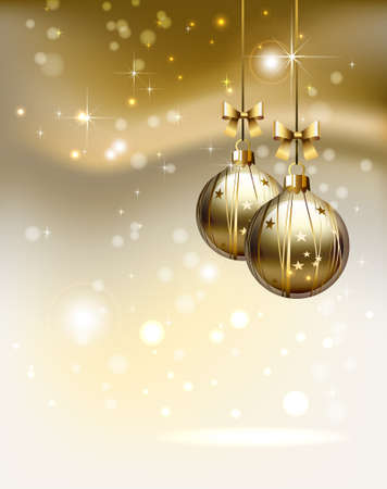 glimmered: glimmered Christmas background with two evening balls