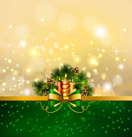 waxen: Christmas background with burning candles and Christmas fir tree