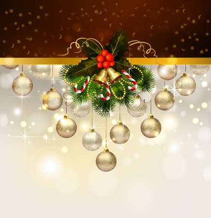 Christmas background with decoration of fir tree and evening balls  Vector
