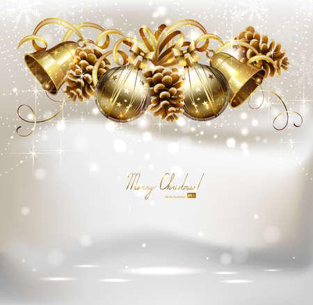 campanas de navidad: Las bolas de fiesta, las campanas y los conos en el fondo de Navidad