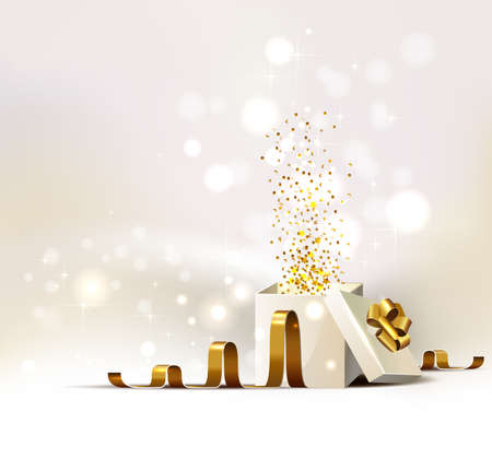 open present: background with open white Christmas gift
