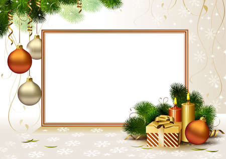 christmas backdrop: light Christmas greeting- card with burning candles and Christmas gift  Illustration