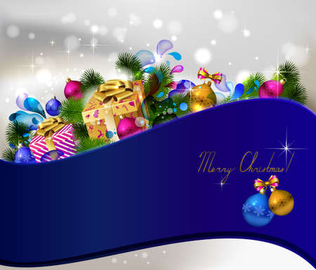 glimmered: Christmas background with gifts and green fir tree  Illustration