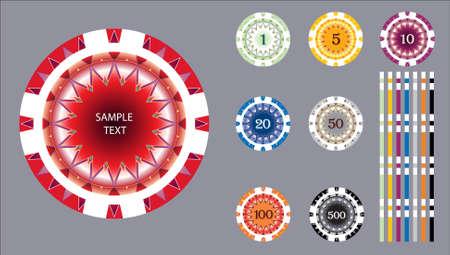 gambling chip: juego de chips Vectores
