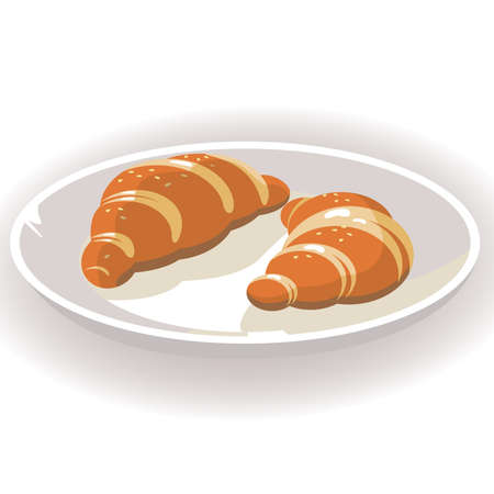 deliciously: Croissant on the dish  Illustration