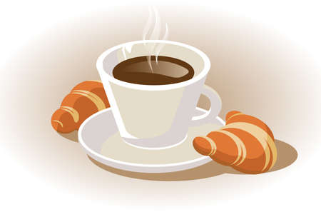 cup of coffee with croissant  Stock Vector - 15350858