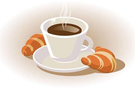 comida arabe: taza de caf� con croissant Vectores