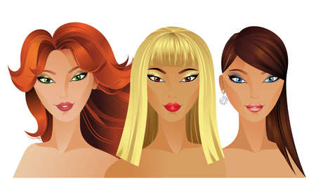 red hair beauty: Three Beautiful fashion girls  Illustration