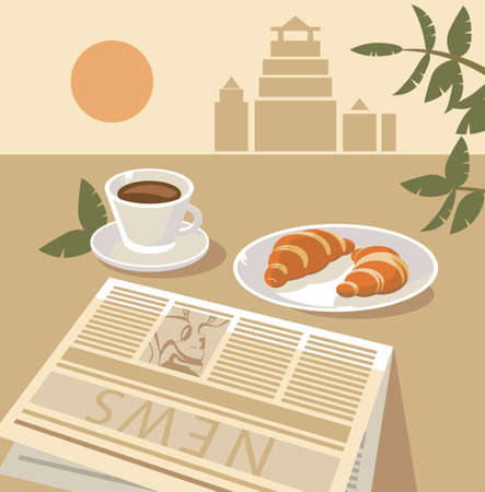 still life with coffee and croissant  Stock Vector - 15350880