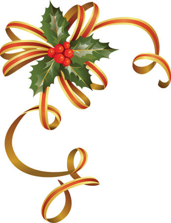 new corner: nice christmas holly tree  Illustration