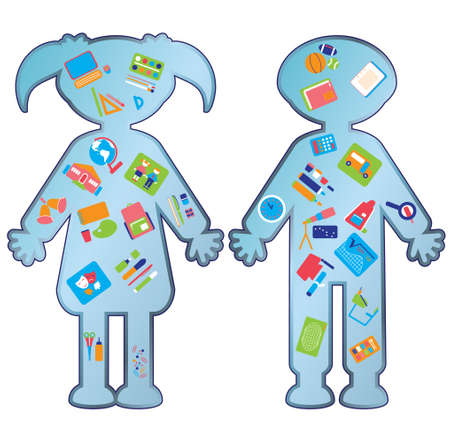 ball pens stationery: Iconos de la educación colegial y colegiala con Vectores