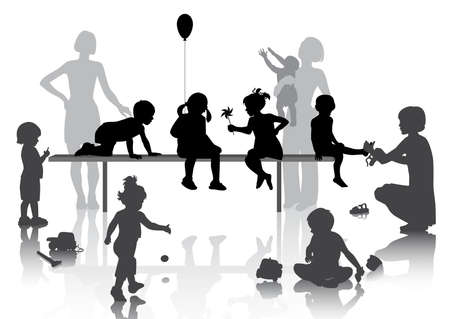 8 children playing with some toys  Vector