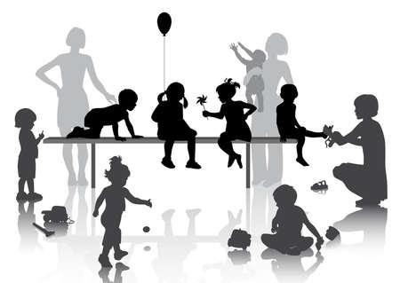 8 Kinder spielen mit ein paar Spielsachen Vektorgrafik