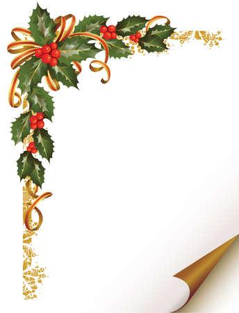 houx: branche de houx de Noël dans le coin