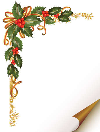 christmas holly branch in the corner  Ilustrace