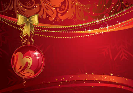 Shiny christmas backdrop with own ball  Vector