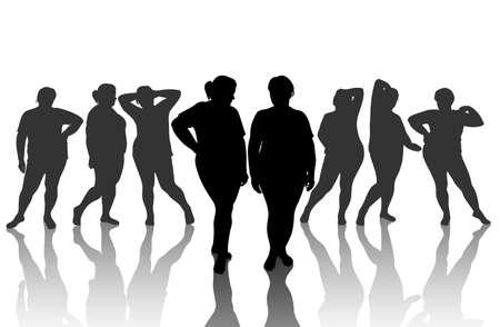obeso: 8 figuras de mulher grosso Ilustração