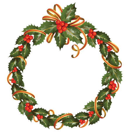 circle of the christmas holly branch  Stock Vector - 15369922