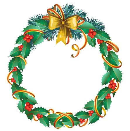 christmas wreath of holly  Vector