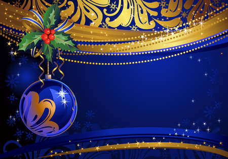 shiny glass ball on the blue Christmas background  Vector